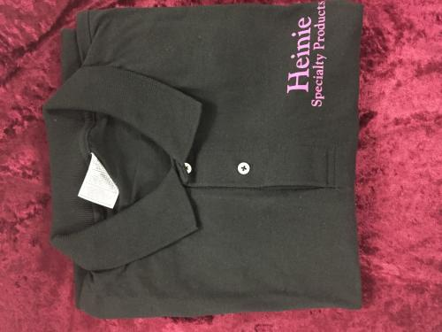 HEINIE BLACK GOLF SHIRT (PINK LOGO)